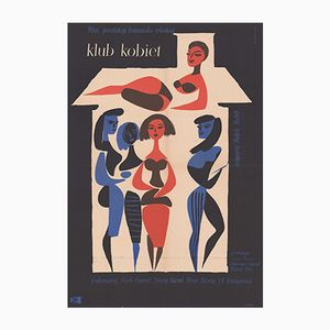 Poster vintage del film Club de Femmes di Wiktor Górka per CWF, Polonia, 1958