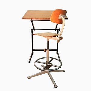Tisch & Stuhl im Industriellen Stil von Friso Kramer für Ahrend De Cirkel, 1960er