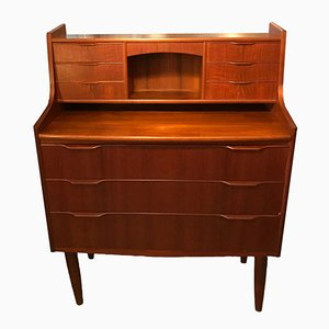 Teak Secretaire with Drawers and Mirror, 1950s