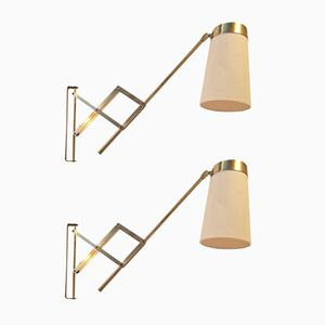 Brass Scissor Wall Lamps by Th. Valentiner, 1950s, Set of 2