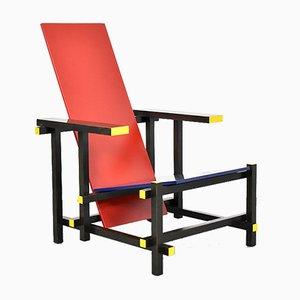 635 Stuhl in Rot & Blau von Gerrit Rietveld für Cassina, 1980er