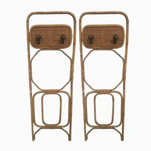 Vintage Italian Bamboo Wall Racks, 1960s, Set of 2