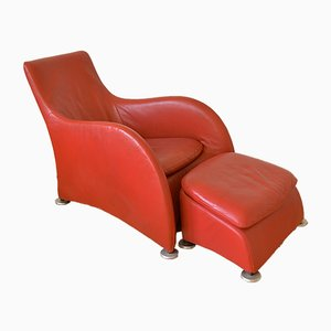 Leather Loge Lounge Chair with Ottoman by Gerhard van der Berg for Montis, 1980s