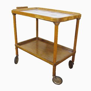 Walnut Tea Cart with Painted Tiles, 1950s