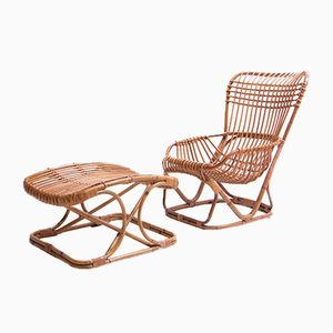 Rattan Lounge Chair and Ottoman by Tito Agnoli for Pierantonio Bonacina, 1960s