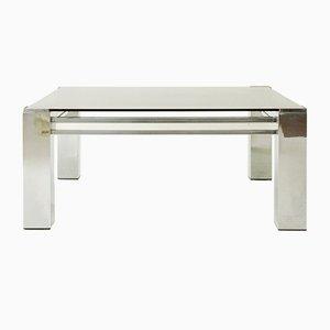 Italian Square Chromed Coffee Table, 1970s