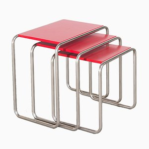 Bauhaus B9 Nesting Tables by Marcel Breuer, Set of 3