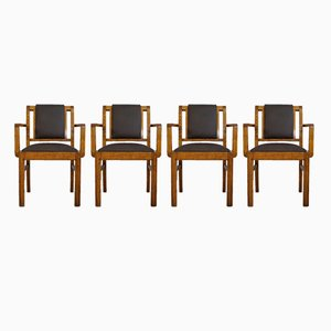 Art Déco Oak & Leather Chairs, Set of 4