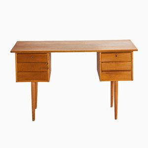 Oak Desk with 6 Drawers, 1960s