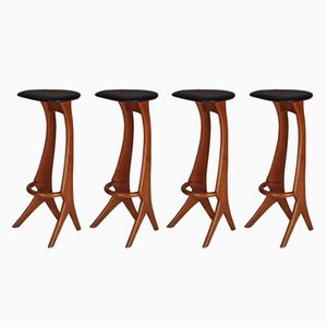 Teak Bar Stools from Reyway, 1960s, Set of 4
