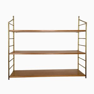 Vintage Wall Unit in Brass and Alder, 1950s
