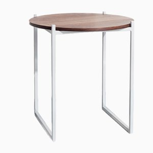 Tavolino LULU in noce riciclata ed acciaio di Johanenlies