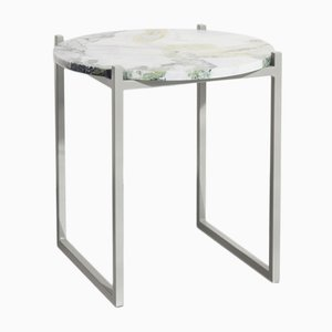 Tavolino LULU in marmo verde ed acciaio di Johanenlies