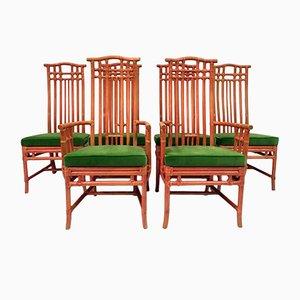 Chaises de Salon Vintage en Bambou Rouge et Velours Vert de Mcguire, Set de 6