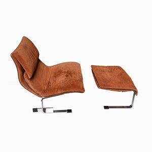 Italian Onda Armchair and Ottoman by Giovanni Offredi for Saporiti, 1970s