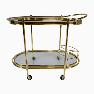 Italian Oval Brass Tea Cart, 1980s
