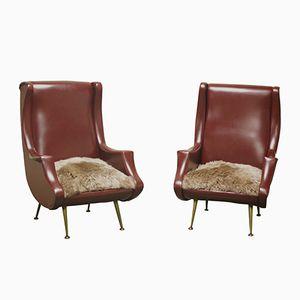 Italienische Vintage Armlehnstühle mit Beinen aus Messing, 1960er, 2er Set