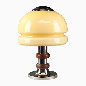 Vintage Opaline Glass and Chromed Metal Table Lamp, 1950s