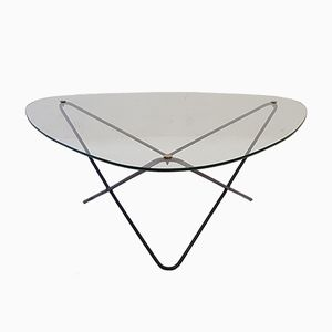 Mid-Century Metal & Glass Coffee Table by Florent Lasbleiz for Airborne