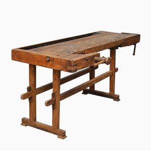 Vintage Hungarian Oak Carpenter's Workbench, 1935