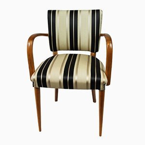 Olive & Striped Jacquard Armchair, 1940s