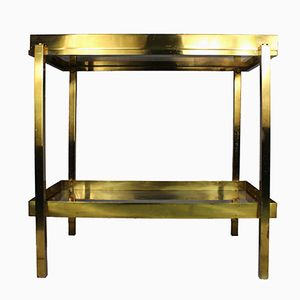 Brass Service Table with Removable Tray, 1970s
