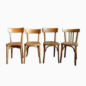 Chaises de Bistro Vintage, France, Set de 4
