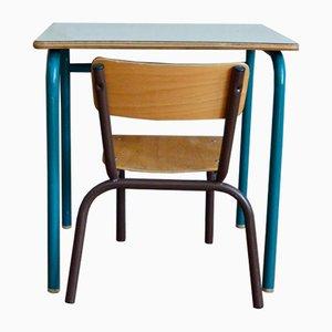Bureau et Chaise d'Ecole Vintage, France, 1960s