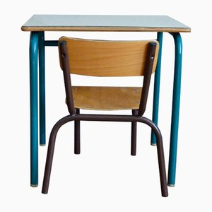 Vintage French School Desk & Chair, 1960s