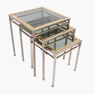 Nesting Coffee Tables in Brass, Metal, & Smoked Glass, 1970s
