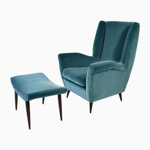 Vintage Armchair and Ottoman in Velvet by Gio Ponti