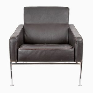 Mid-Century Armchair in Brown Leather and Steel
