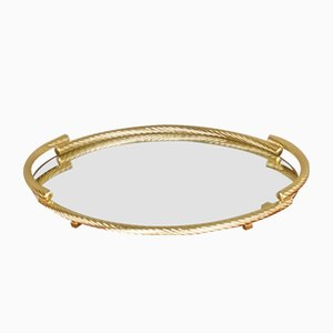 Gold Plated Serving Tray from Brass Milano, 1970s