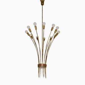 Italian Tall Brass Chandelier, 1950s