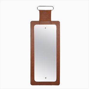 Specchio a muro in legno e pelle, anni '60