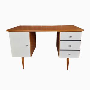 Vintage Schreibtisch aus Teak mit Weißer Fassade, 1960er
