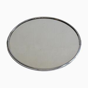 Specchio circolare in acciaio cromato, anni '70