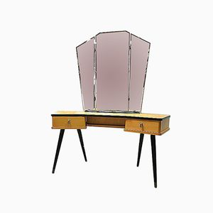 Vintage Dutch Laminated Beech Dressing Table, 1960s