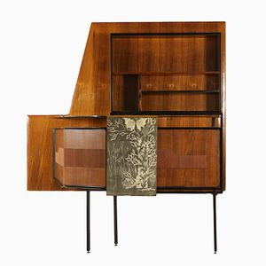 Bar Cabinet in Rosewood Veneer, Glass, & Metal, 1950s