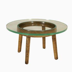 Vintage Couchtisch aus Dekorativem Holz & Glas