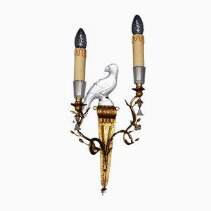 Französische Vintage Vogel Wandlampen, 2er Set