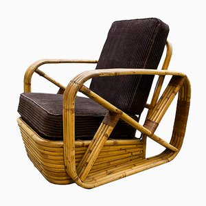 Vintage Rattan Lounge Chair by Paul Frankl, 1940s