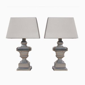 Silver Plated Table Lamps, 1970s, Set of 2