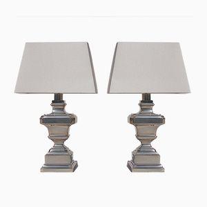 Versilberte Tischlampen, 1970er, 2er Set