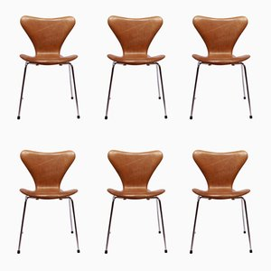 Vintage Model 3107 Chairs by Arne Jacobsen for Fritz Hansen, Set of 6