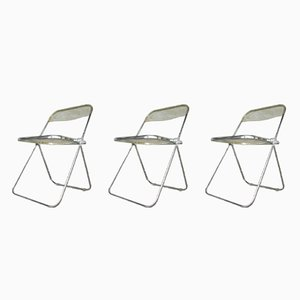 Vintage Plia Folding Chairs by Giancarlo Piretti for Castelli, Set of 3