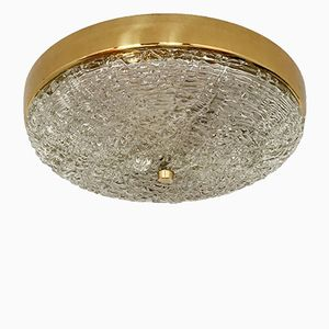 Brass & Frosted Glass Ceiling Lamp, 1950s