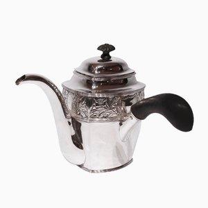 Pot à Chocolat Vintage à Motifs en Argent Poinçonné et Poignée en Ebène