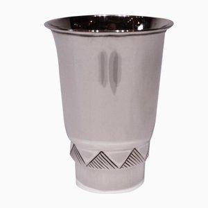 Vase Vintage avec Motif Triangulaire en Argent Poinçonné