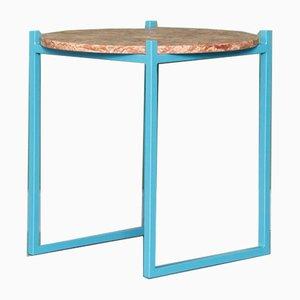 Tavolino LULU in acciaio e travertino rosso di Johanenlies